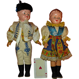 Pair of Vintage Dolls, Scandinavia, A Full Foot Tall, Beautifully Hand Painted, All Original Clothes, Superb Condition