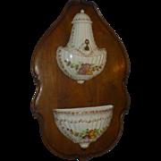 Antique Capodimonte Lavabo, Wittenburg Germany, Porcelain, Early 1900's, Ceraminc, Hand Painted, European Walnut