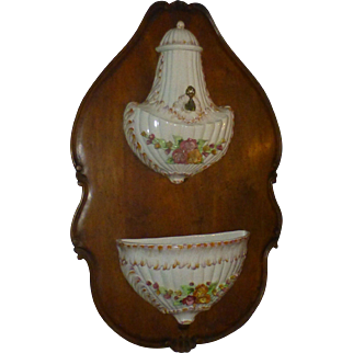 Antique Capodimonte Lavabo, Wittenburg Germany, Porcelain, Early 1900's, Ceraminc, Hand Painted, European Walnut