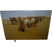 """Frederick Remington Stretched Canvas, from 1800's Painting """" Old Time Plains fight """", American West Cavalry, Horses, Indians"""
