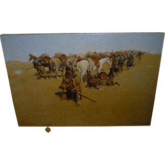 "Frederick Remington Stretched Canvas, from 1800's Painting "" Old Time Plains fight "", American West Cavalry, Horses, Indians"