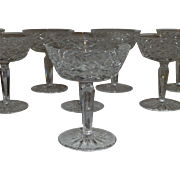 Waterford Cut Lead Crystal, Tyrone Pattern, Tall Champagne / Sherbert Glasses, Set of Eight, Ireland, Flawless