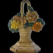 Vintage Hubley Cast Iron Doorstop, Number 43,  Basket of Flowers