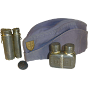 Military Hat, Button, & Soldier's Gun Oiler Containers. Militaria, WWII,