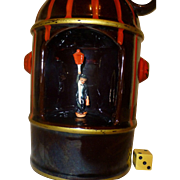 """Rare Musical """" Fire Hydrant""""  1950's Whiskey Decanter, Drunk Swings on Lightpole, Immaculate Condition"""