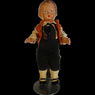"Rare 1940's Celluloid Doll, Schildkrot Mfg., Germany, Turtle Mark #25, Boy in Lederhosen,  Hand Painted, Jointed, 9.75"""