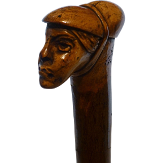Antique Cane,  Hand Carved, 1800's, Europe, Medieval Woman, Signed