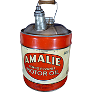 Vintage Amalie Oil Can, 1960's, Five Gallon, Advertising, Automobilia,  Pennsylvania