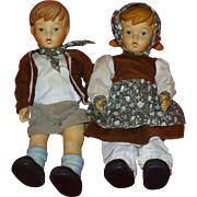 """Scarce Hansel and Gretel Porelain Bisque Dolls, Vintage 1980's by Oumlet, 11"""" Tall, Flawless Condition"""