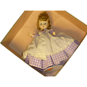 "Lavender Dress 1950's Madame Alexander "" Meg "" Doll, Original Tag & Box,  Sleepy Eyes, 6 Joints"
