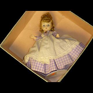 """Lavender Dress 1950's Madame Alexander """" Meg """" Doll, Original Tag & Box,  Sleepy Eyes, 6 Joints"""