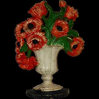 Antique Hubley Urn of Poppys Flowers, #440, Origianl Paint