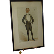 "125 Year Old Antique  "" Spy "" Lithograph Print, Vanity Fair Magazine, "" Statesmen # 442  "", 1887, by Leslie Ward, Royalty, Lord Haldon"