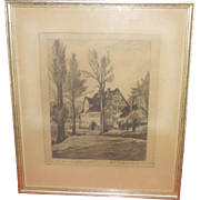 1953 Signed!!  Walter Romberg Etching, Germany, Framed, Personal Written Note by Romberg, Superb Condition