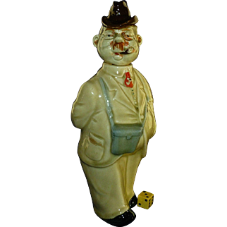 Scarce Vintage German Whiskey Decanter, ca 1930's, Hand Painted Porcelain, Cigar, Binoculars, Umbrella