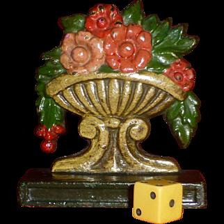 """Rare, Circa 1920, """" Flowerw In Urn """" Door Stop, Cast Iron, Hand Painted, Doorstop"""