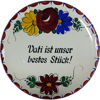 Set of Two German, 1918, Hand Painted, Hanging Wall Plates, Proverbs, Immaculate