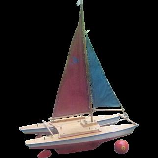 "1960's, Famous German "" Seifert Cat 1, Gunther Series"" Racing Catamaran Pond Boat. Exact Likeness of Full Size Boat, $10 SHIPPING!"
