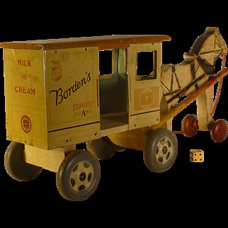 1930's,  Borden's Milk Wagon Pull Toy, Tin Litho, Horse Drawn, Rich Toy Co., Clinton Iowa