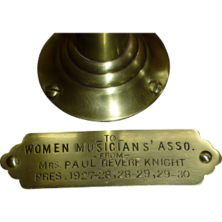 1930 Vintage Women Musicians Association Award, Paul Revere, 48 Star US Flag, Pedestal, Brass Engaved Plate