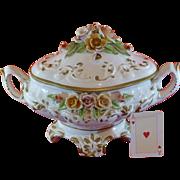 Antique Capodimonte Soup Tureen, Italy Porcelain, Hand Painted, Excellent condition