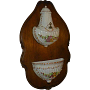 Exquisite Antique Capodimonte Lavabo on European Walnut Plaque, Hand Painted, Wittenburg germany, Porcelain, Early 1900's