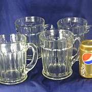 Giant Beer Mugs, Old Cut Leaded Glass, 1950's, One Quart Each, Set of Four