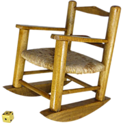Vintage Toy  Rocking Chair for Retiring Boomers, Oak and Hemp / Jute