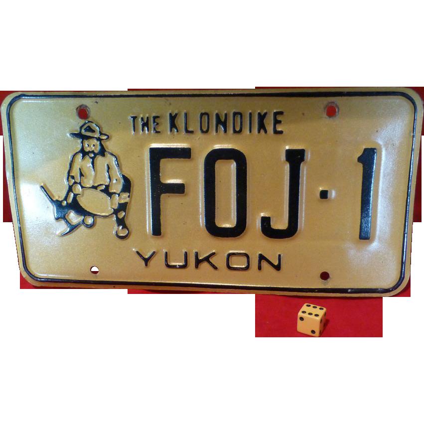 Alaska klondike gold miner license plate genuine sold on for Md fishing license cost