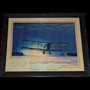 DeHavilland 4 Airplane, 1921 Hubbard Lithograph, Postal Memorabilia, 1st Trans Continental Air Flight