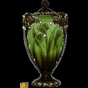 Antique Victorian Art Nouveau Urn, Vase, Hand Painted, Europe, Ca 1895