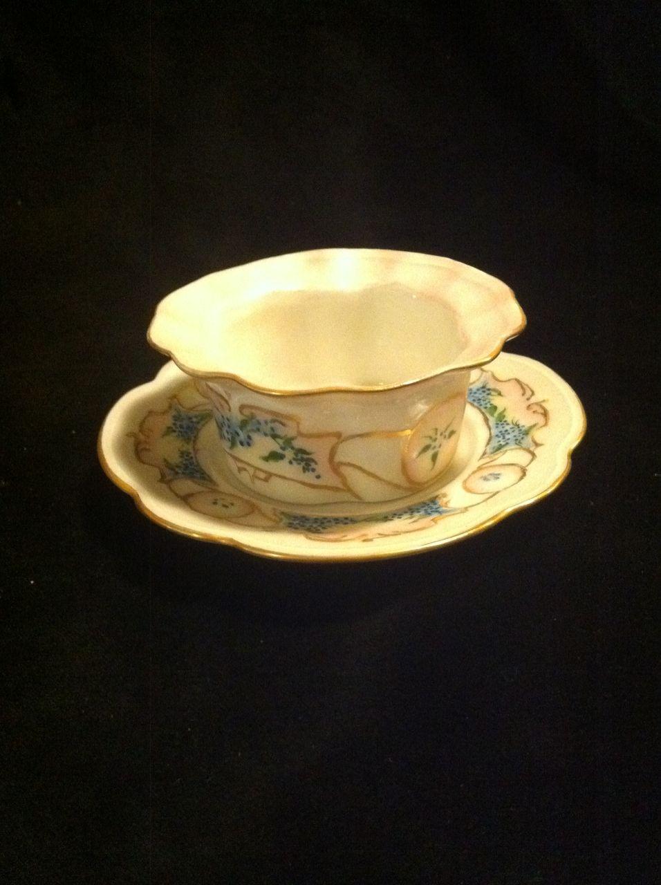 Altrohlau Austria Handpainted Bowl and Saucer