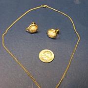 Vintage Coro Cameo Necklace Earrings Demi Parure Set