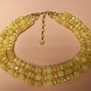 Vintage Coro 3-Strand Yellow Faceted Bead Necklace