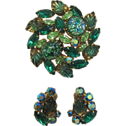 Green Cat's Eye / Mexican Opal Brooch and Earring Brooch and Earrings