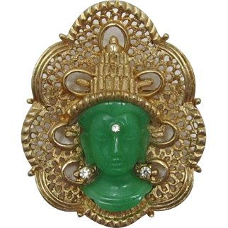 Hattie Carnegie Asian Princess Brooch with Simulated Jade Face