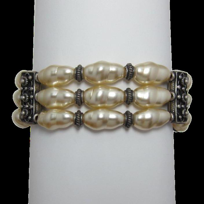 Renaissance Style Three Strand Faux Pearl Bracelet