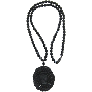 Long Necklace with Large Black Beaded Locket with Cameo