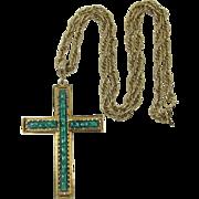 Whiting & Davis Large Cross Pendant Necklace - LAST CHANCE