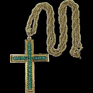 Whiting & Davis Large Cross Pendant Necklace