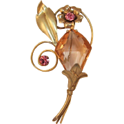 Excellent Gold-filled Retro Glass Flower Brooch from WWII Era