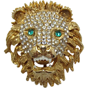 Roaring Lion Brooch with Pave' Set Rhinestones & Green Cab Eyes