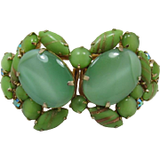 Huge Mint Green and Aventurine Cabochon Clamper Bracelet - Fabulous