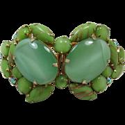 Huge Mint Green and Aventurine Cabochon Clamper Bracelet - Fabulous