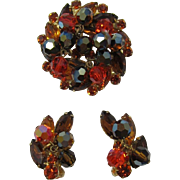 Fab DeLizza and Elster / Juliana Orange and Topaz Beaded Pin and Earring Set