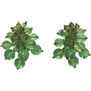 Two Apple Green Lucite Balls Fur Clips
