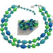 Lisner / West Germany Blue & Green Necklace & Earrings - Rare