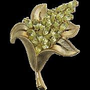 Trifari Yellow Navette Rhinestone Flower Pin