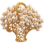 Napier Brooch - Basket of Imitation Pearls