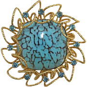 Dramatic Brooch with Huge Turquoise Glass Cabochon